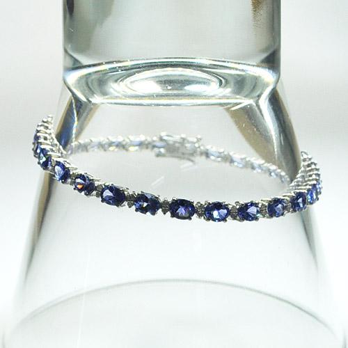 タンザナイト×ダイヤモンド K18ホワイトゴールド テニス ブレスレット A025-1502