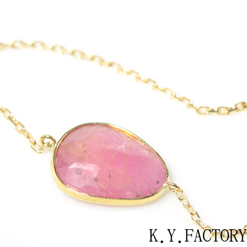 ピンクサファイア ブレスレット K18イエローゴールド 「1点もの」YK-AV067 シンプル K18YG レディース ギフト ゴールド 一粒 シンプル 9月誕生石