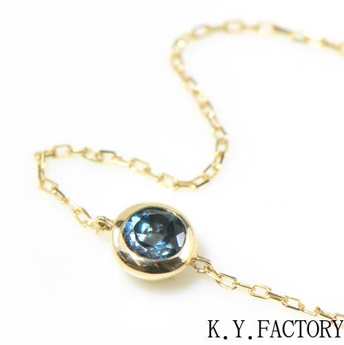 ロンドンブルートパーズ K10イエローゴールドブレスレットウーノ YK-AZ085CI2(YP-061)レディース ゴールド 一粒 シンプル ブレス