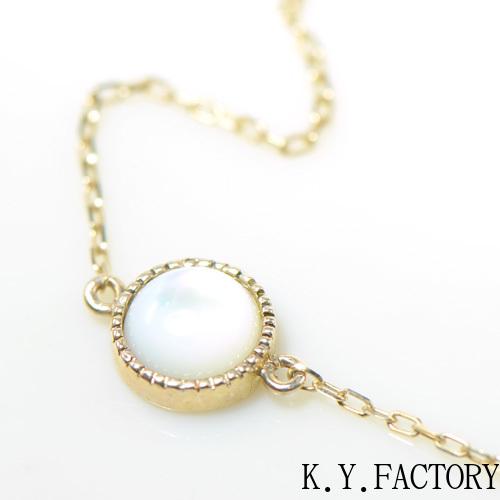ホワイトシェル 白蝶貝 K10イエローゴールド ブレスレットYK-BG020CI28 レディース ゴールド 一粒 シンプル ブレス