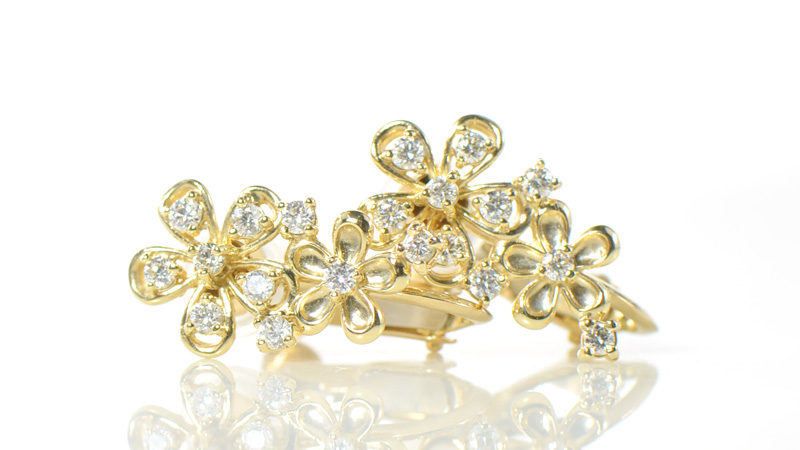 ダイヤモンド イヤリング フラワーモチーフ  K18イエローゴールド/ホワイトゴールド/ピンクゴールドラリュール YK-BB099(YPG-099/109) 18金 レディース ギフト K18YG WG PG 4月誕生石
