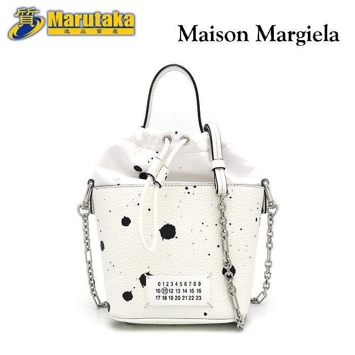 マルジェラ 5ACシリーズ 結婚祝い ホワイト ブラック Maison Margiela 超定番 メゾン ペイント 5AC バケット 黒 中古 バッグ 白 斜め掛け レザー ショルダー ハンド 送料無料