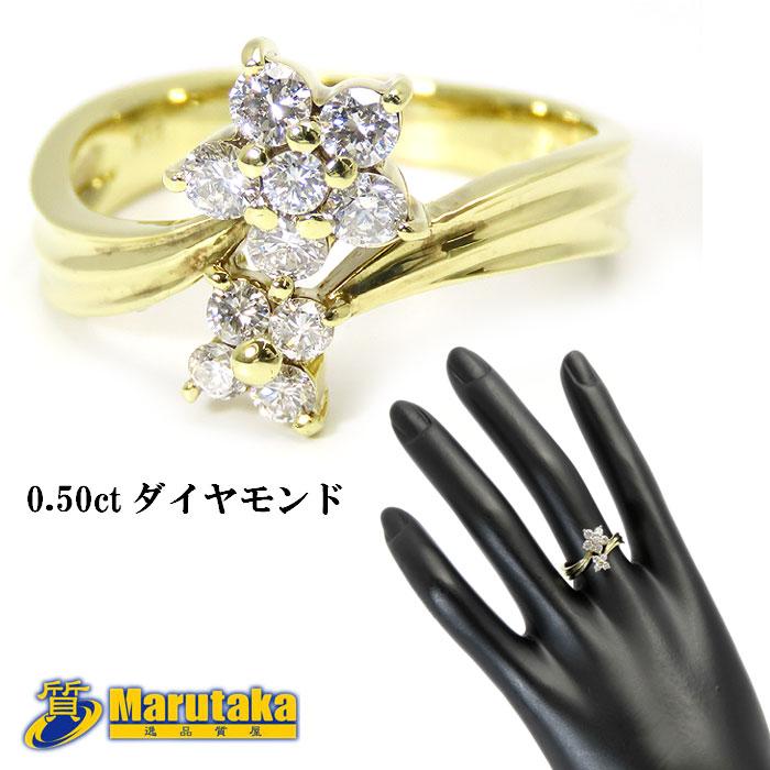 お花が2つ付いたようなデザインの指輪です K18 出群 ダイヤモンド 値下げ リング 13号 花 送料無料 フラワー 中古 a17r527-1