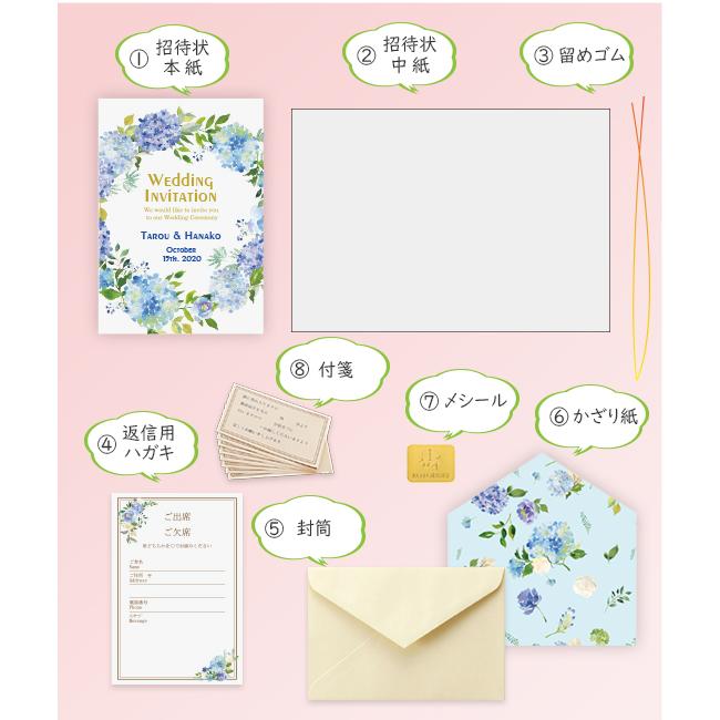 返信はがき:アレルギー表記なし) 結婚式招待状 10枚 セット