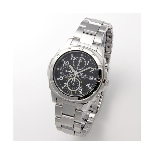SEIKO(セイコー) 腕時計 クロノグラフ SND195P ブラック/アラビア 送料無料!