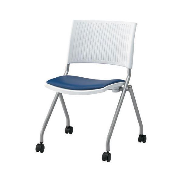 ジョインテックス 会議椅子(スタッキングチェア/ミーティングチェア) 肘なし 座面:合成皮革(合皮) キャスター付き FJC-K6L NV 【完成品】 送料込!