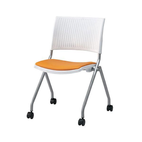 ジョインテックス 会議椅子(スタッキングチェア/ミーティングチェア) 肘なし 座面:合成皮革(合皮) キャスター付き FJC-K6L OR 【完成品】 送料込!