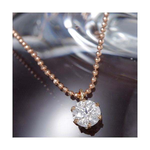 K18PG 0.4ct一粒ダイヤモンドペンダント/ネックレス(18金ピンクゴールドネックレス)185310 約40cm 送料無料!