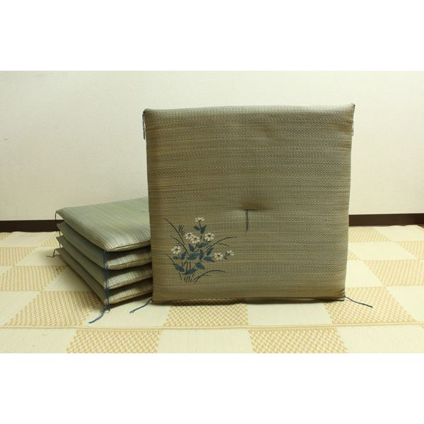 純国産/日本製 捺染返し い草座布団 『小花 5枚組』 ブルー 約55×55cm×5P 送料無料!