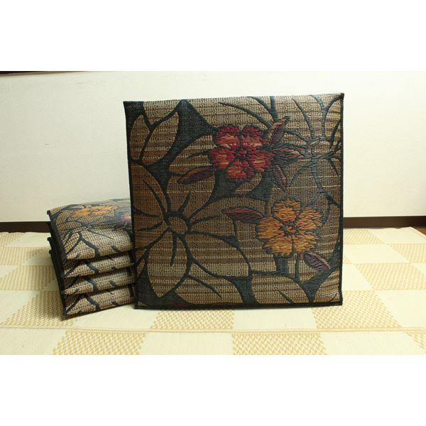 純国産/日本製 袋織 織込千鳥 い草座布団 なでしこ 5枚組 ブラック 約60×60cm×5P 送料無料!