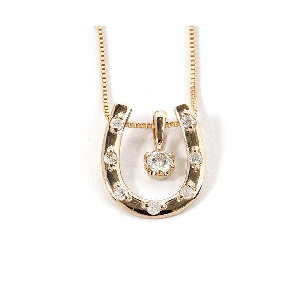 K18ピンクゴールド 天然ダイヤモンドネックレス 馬蹄型 ダイヤモンドペンダント/ネックレス0.1CT 送料無料!