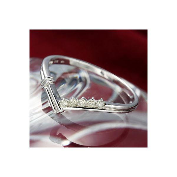 K14ダイヤリング 指輪 Vデザインリング 15号 送料無料!
