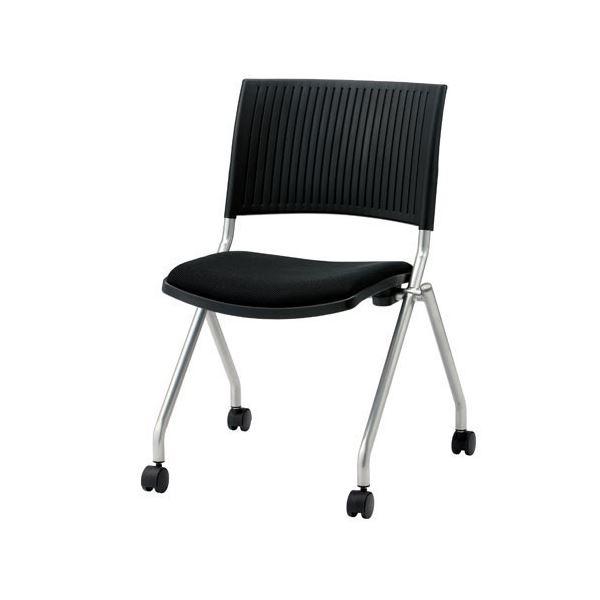 ジョインテックス 会議椅子(スタッキングチェア/ミーティングチェア) 肘なし キャスター付き FJC-K5 ブラック 【完成品】 送料込!
