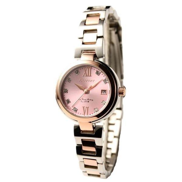 Forever(フォーエバー) 腕時計 デイト付き FL-1201-2 ピンク×シルバー 送料無料!