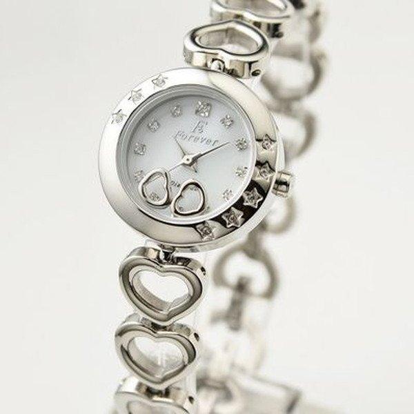 Forever(フォーエバー) 腕時計 1Pダイヤ FL-1207-1 ホワイトシェル×シルバー 送料無料!