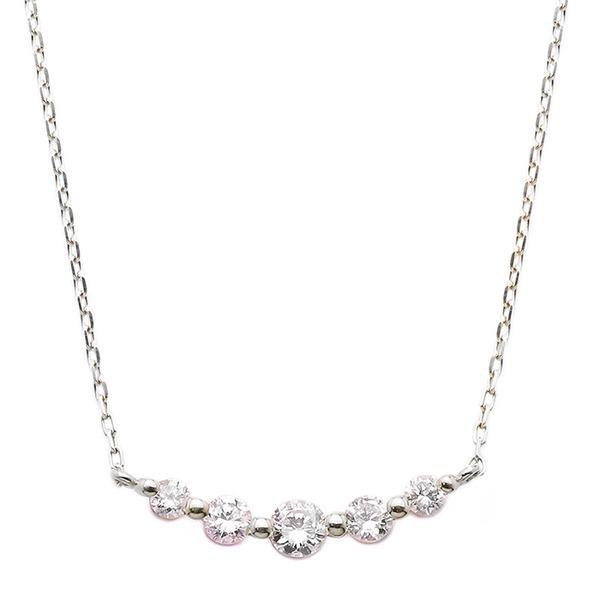 ダイヤモンド ネックレス K18 ホワイトゴールド 0.3ct 5粒 5ストーン ダイヤネックレス 0.3カラット ペンダント 送料無料!