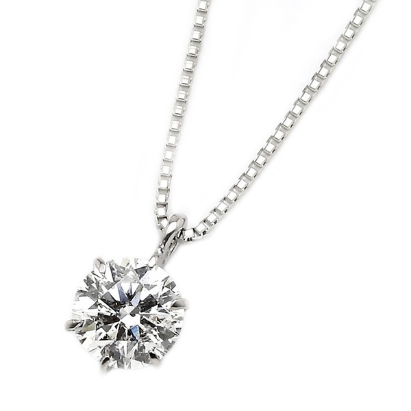 ダイヤモンドペンダント/ネックレス 一粒 K18 ホワイトゴールド 0.5ct ダイヤネックレス 6本爪 H~Fカラー SIクラス Excellentアップ 3EX若しくはH&C 中央宝石研究所ソーティング済み 送料無料!