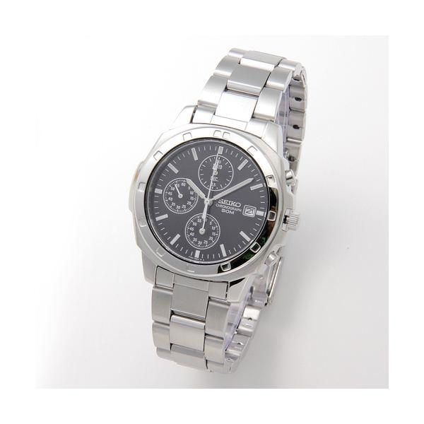SEIKO(セイコー) 腕時計 クロノグラフ SND191P ブラック/バー 送料無料!
