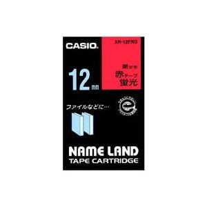(業務用50セット) カシオ CASIO 蛍光テープ XR-12FRD 赤に黒文字 12mm 送料込!