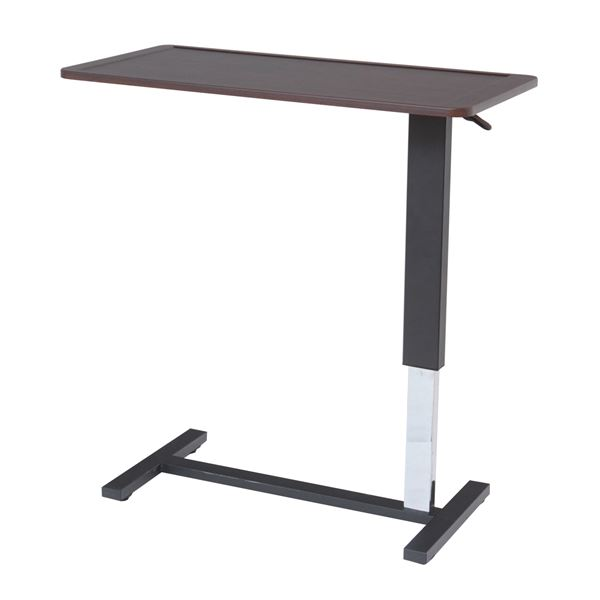 パソコン作業やベッドサイドにも。移動も楽々作業デスク 昇降式テーブル/サイドテーブル 【幅90cm】 天板フチ/キャスター付き スチール MDF 〔リビング ダイニング〕 送料込!