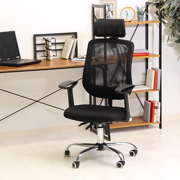多機能オフィスチェア/デスクチェア 【ブラック】 幅61cm ハイバック リクライニング 高さ調整可 キャスター付 『アンテロープ』【代引不可】 送料込!