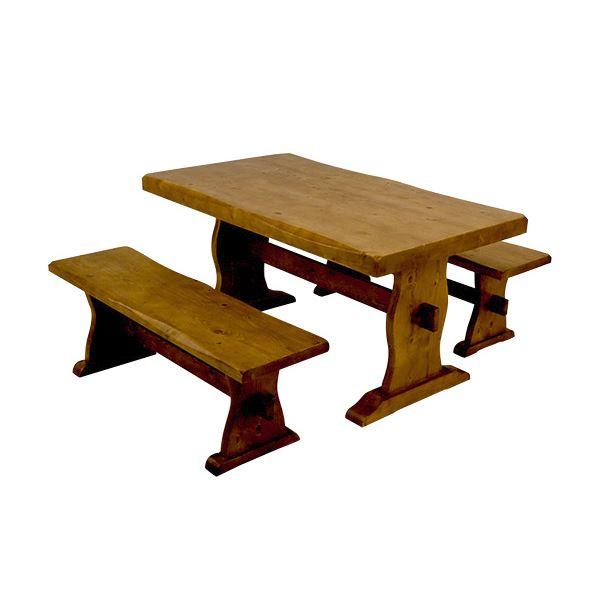 浮造りダイニングテーブル(テーブル単品) 【幅135cm】 木製(松/パイン) 木目調 アジャスター付き【代引不可】 送料込!
