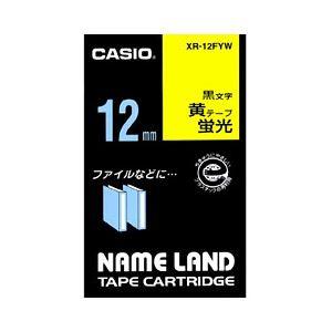 (業務用セット) カシオ(CASIO) ネームランド エコテープカートリッジ 蛍光イエローに黒文字 12mm 【×10セット】 送料無料!