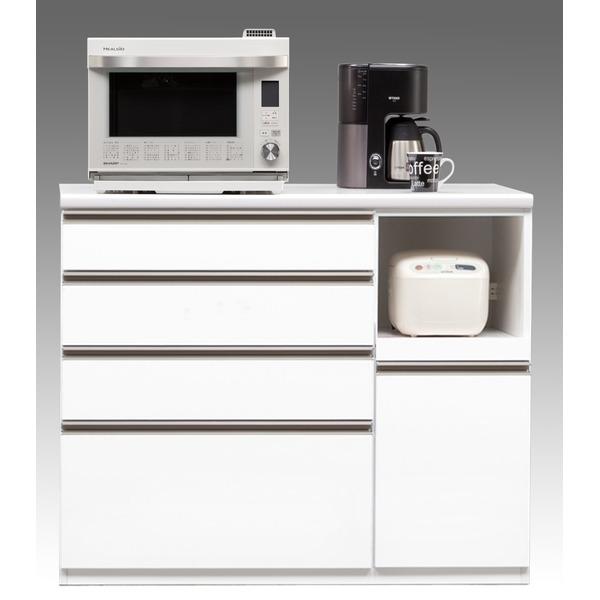 【開梱設置費込】キッチンカウンター ESシリーズ 120cm幅 レンジ台 ホワイト色 ハイタイプ 【日本製】【代引不可】 送料込!