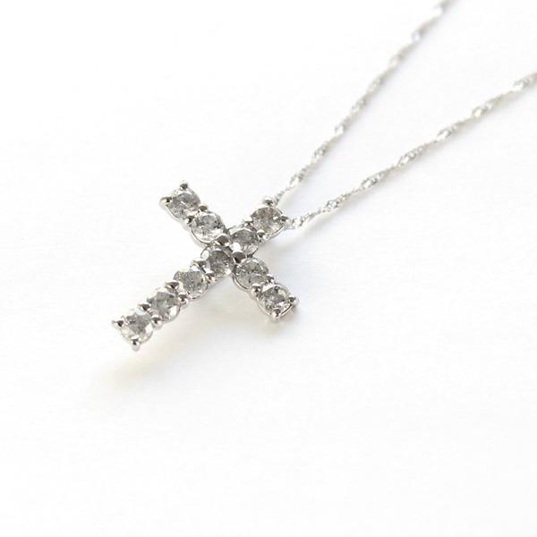 ダイヤネックレス 純プラチナ 0.5ct ダイヤモンド 送料無料 クロスペンダント 捧呈 お買い得 代引不可