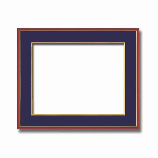 【和額】赤い縁に金色フレーム 日本画額 色紙額 木製フレーム ■赤金 色紙F10サイズ(530×455mm) 紺 送料込!