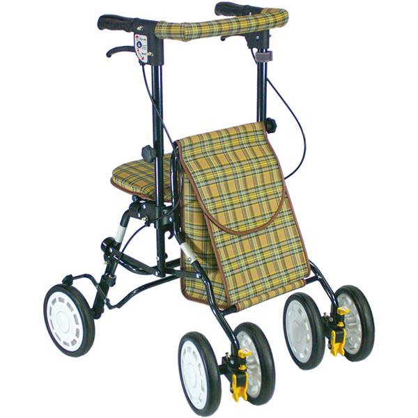 シルバーカー/歩行車/アクティブピッチ 杖立て/反射機能付き 高さ5段階調整可 (歩行補助用品/介護用品) ブラウン 送料込!