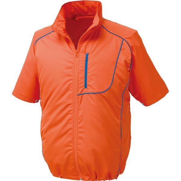 ポリエステル製半袖空調服 BP500S リチウムバッテリーセット 【カラー:オレンジ×ネイビー サイズ:M】 送料無料!
