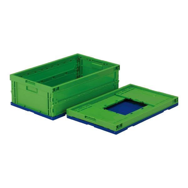 (業務用5個セット)三甲(サンコー) 折りたたみコンテナボックス/オリコン 【39L】 プラスチック製 P39B グリーン(緑)【代引不可】 送料込!