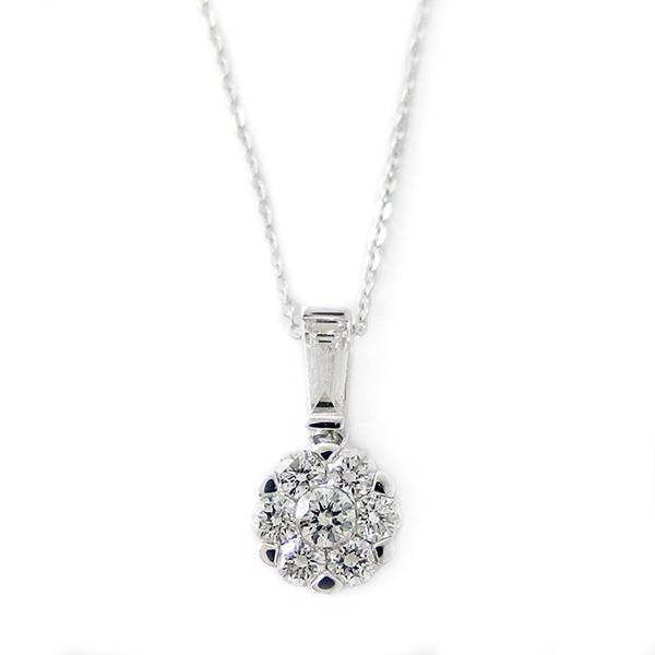 ダイヤモンド ネックレス K18 ホワイトゴールド 0.4ct 7ダイヤ コロネットセッティング Hカラー SIクラス バケットダイヤ 0.4カラット ペンダント 送料無料!