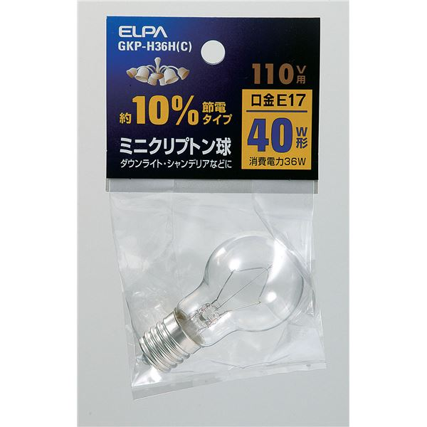 (業務用セット) ELPA ミニクリプトン球 電球 40W形 E17 クリア GKP-H36H(C) 【×30セット】 送料込!