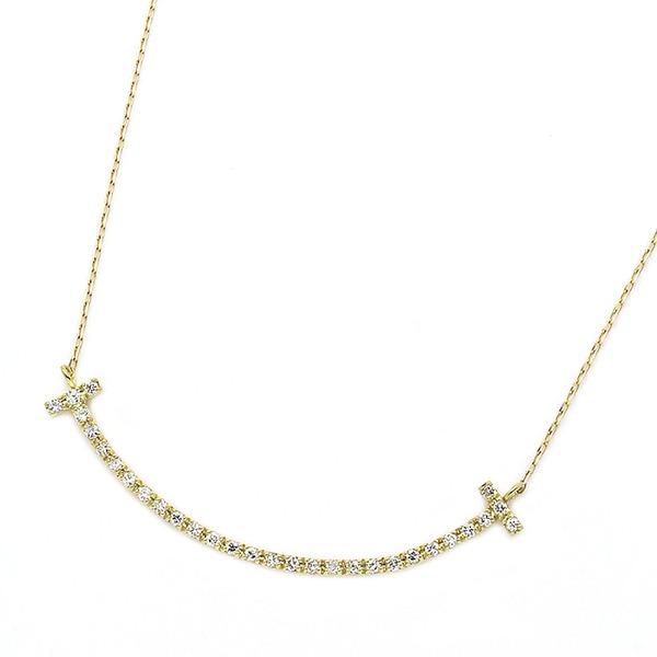 ダイヤモンド ネックレス K18 イエローゴールド 0.2ct スマイリー ダイヤネックレス シンプル ペンダント 送料無料!