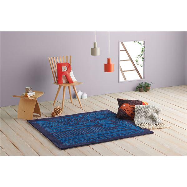 ラグマット/絨毯 【モリノナカ 140cm×140cm ブルー】 正方形 日本製 床暖房可 防ダニ Masaru Suzuki Design 『NEXTHOME』【代引不可】 送料込!