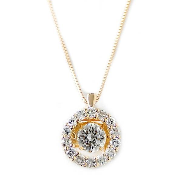 ダイヤモンド ネックレス K18 イエローゴールド 0.5ct 揺れる ダイヤ ダンシングストーン ダイヤネックレス サークル ペンダント 送料無料!