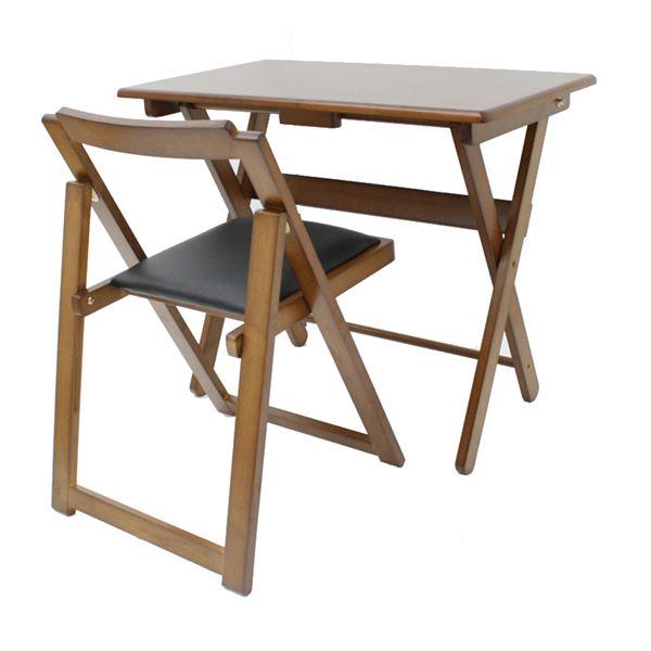 折りたたみ式デスク・チェアセット 木製 椅子座面:合成皮革(合皮) ダークブラウン 【完成品】 送料込!