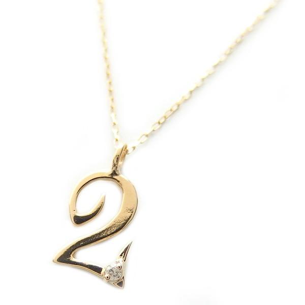 ナンバー ネックレス ダイヤモンド ネックレス 一粒 0.01ct K18 ゴールド 数字 2 ダイヤネックレス ペンダント 送料無料!