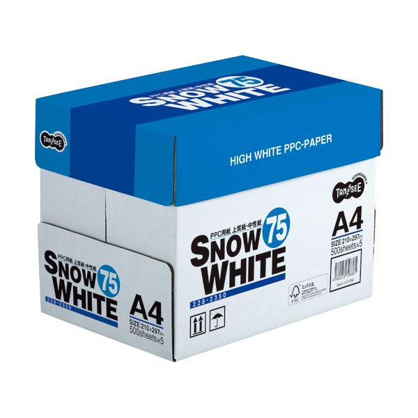(まとめ) TANOSEE PPC用紙 SNOW WHITE 75 A4 1箱(2500枚:500枚×5冊) 【×10セット】 送料込!