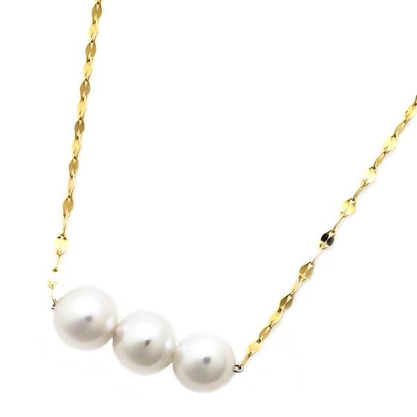 アコヤ真珠 ネックレス パールネックレス K18 イエローゴールド 約5mm 約5ミリ珠 3個 あこや真珠 ペンダント シンプル パール 本真珠 送料無料!