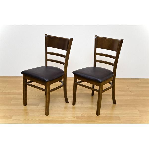 汚れに強くお手入れも簡単 シンプルな天然木食卓椅子 舗 チェアー NEWダイニングチェア 2脚セット 送料込 ブラウン 贈り物 代引不可 合成皮革 木製