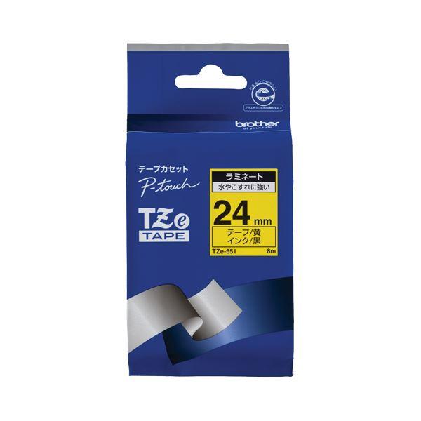 (まとめ) ブラザー BROTHER ピータッチ TZeテープ ラミネートテープ 24mm 黄/黒文字 TZE-651 1個 【×6セット】 送料無料!