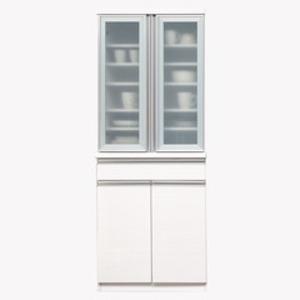 【開梱設置費込】食器棚 NTLシリーズ 70cm幅 高さ180cmダイニングボード ホワイト ハイグロス 【日本製】【代引不可】 送料込!