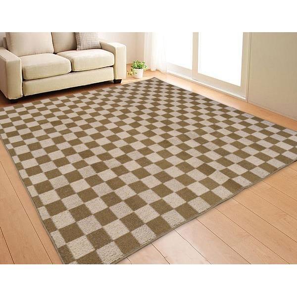 ダイニング ラグマット 絨毯 / 240×330cm 6畳 ベージュ / 長方形 チェック柄 ホットカーペット対応 『ボリュームチェック』 送料無料!