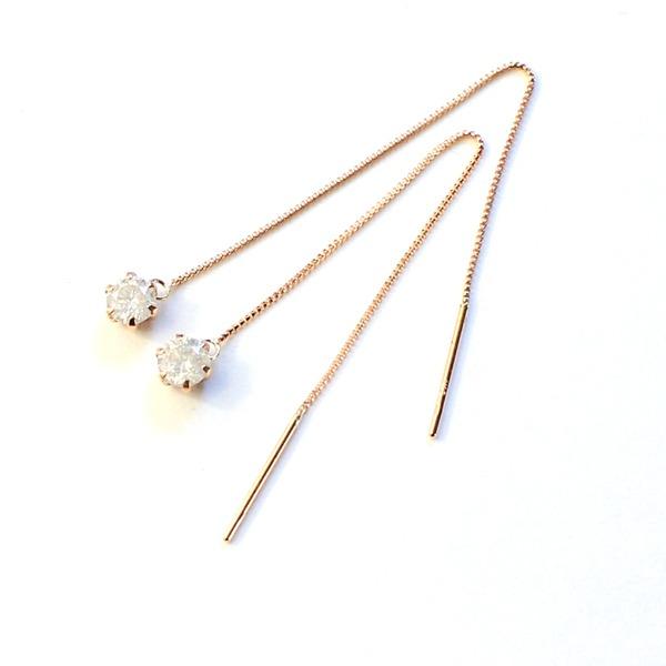 k18 ピンクゴールド ダイヤモンド 0.3ct アメリカン チェーンピアス【代引不可】 送料無料!