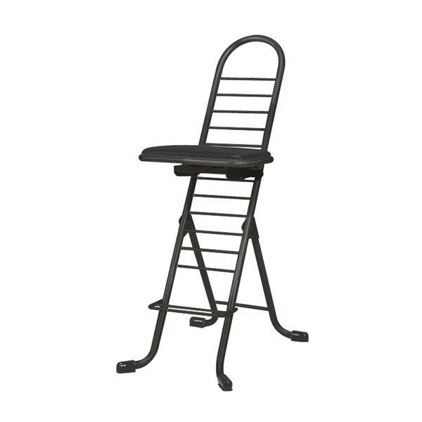 シンプル 折りたたみ椅子 【ブラック×ブラック】 幅420mm 日本製 スチールパイプ 『プロワークチェア スイング』【代引不可】 送料込!