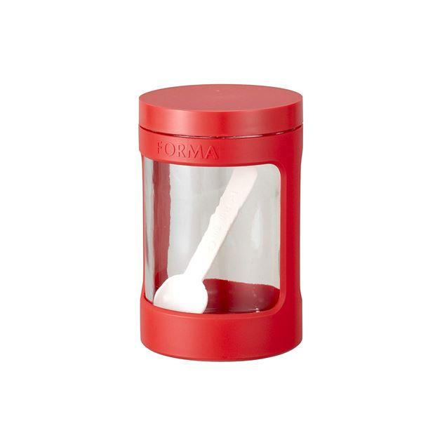 (まとめ) ガラスポット/調味料入れ 【レッド】 680ml 計量スプーン付き ガラス容器 キッチン用品 『フォルマ』 【30個セット】 送料込!