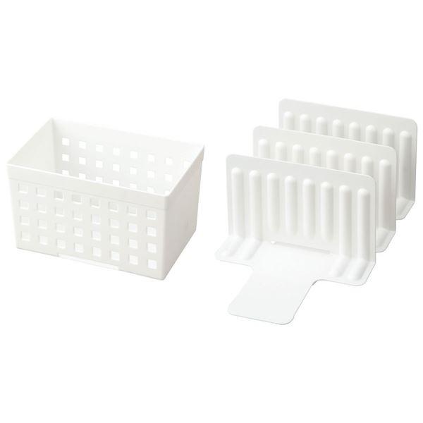 (まとめ)仕切り 収納 スライドできる!冷凍庫スタンド STK-01(ボックス1個・仕切り3枚)ホワイト 【24個セット】 送料込!